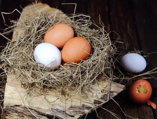 яйца куриные в гнезде из соломы