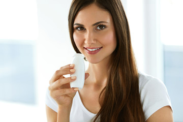 Woman On A Healthy Diet. Girl With Drinking Yoghurt, Dairy Drink