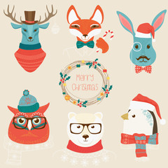 Christmas cute forest animals heads logo set. Vector modern fashionable animals in clothes.