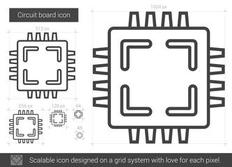 Circuit board line icon.