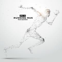 Running Man, points, lines and connected to form, vector illustration.