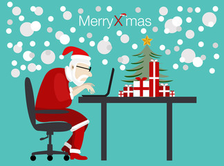 Print vector santa working with laptop in christmas day