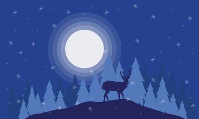 Silhouette of deer on the field Christmas scenery