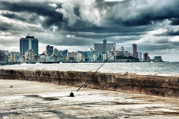 View of Havana city skyline and waterfront by the ocean