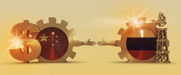 Image relative to gas transit from Russia to China. Business Handshake. 3D rendering. Lens flare effect. Gold material of a gears. National flags on golden cog wheels.