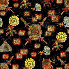 Seamless background with mayan culture symbols
