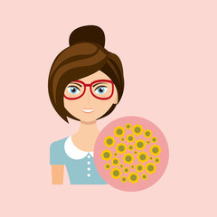 girl character green natural floral icon vector illustration eps 10