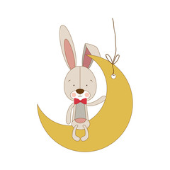 rabbit or bunny on moon shape ornament icon image vector illustration design