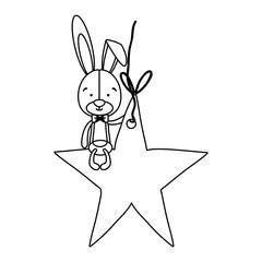 rabbit or bunny on star shape ornament icon image vector illustration design