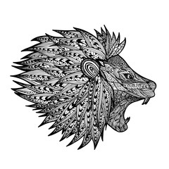 Lion zentangle coloring style