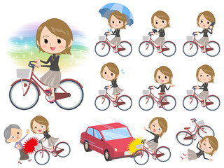 Short hair black high necked women ride on city bicycle