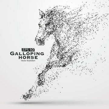 Galloping horse,Many particles,sketch,vector illustration,The moral development and progress.