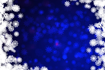 Blue Christmas background with snowflakes  frame border