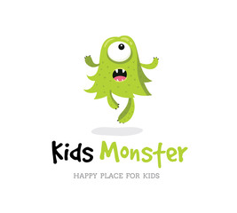 Monster vector ,  Kids monster logo, Cute monster design template.
