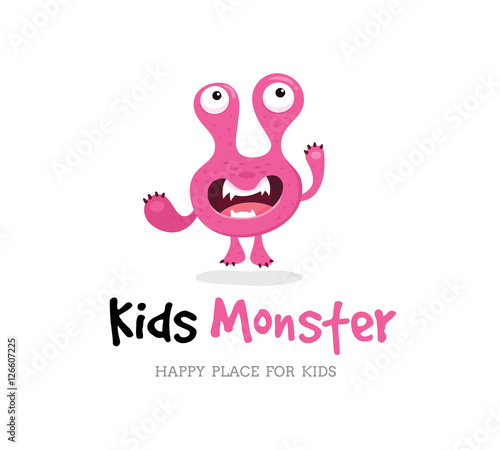 Monster Vector , Kids Monster Logo, Cute Monster Design Template