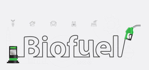 Biofuel typographic pump nozzle creative design, Fuel pump icon,