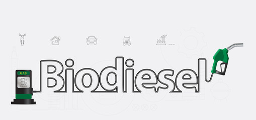 Biodiesel typographic pump nozzle creative design