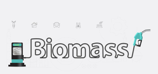Biomass typographic pump nozzle creative design, Fuel pump icon,