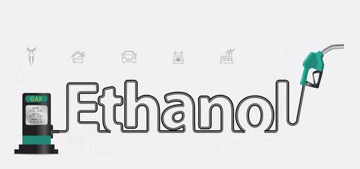 Ethanol typographic pump nozzle creative design, Fuel pump icon,