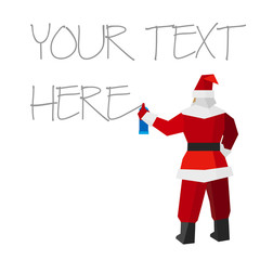 Santa Claus with sprayer writes on the white surface. With place for text. Painter draw a holiday graffiti. New year concept for card or poster. Flat style vector clip art on white background.