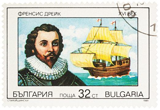 Sir Francis Drake on postage stamp