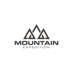 Simple mountain outdoor logo design vector