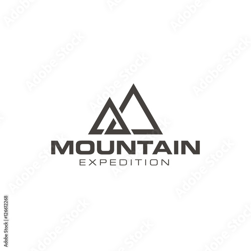 simple mountain outdoor logo design vector stock image and royalty