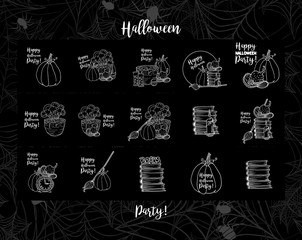 Witch accessories, hat, pot with potion, Wall Clock, pumpkin, candle,bottles for Happy Halloween holiday. White vector line art icons