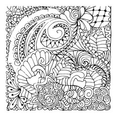 Monochrome Floral Pattern Vector. Hand Drawn Texture with Flowers.