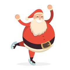 Santa Claus skating and dancing. Cute cartoon cheerful and smili