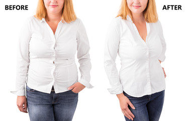 Woman posing before and after successful diet