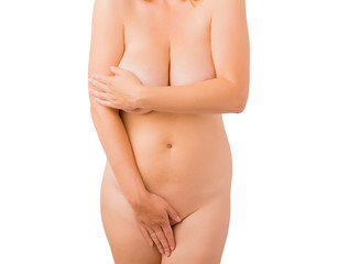 Woman covering her nude body