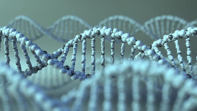 DNA molecules. Gene, genetic research or modern medicine concepts. 3D rendering
