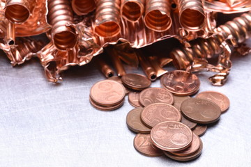 Copper Scrap and Money Industry Concept