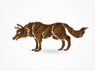 Wolf standing designed using brown grunge brush graphic vector