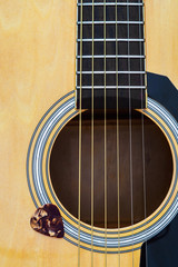 Close up of acoustic guitar with pick