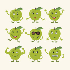 Vector set isolated funny apple. Collection cute apple in cartoon style.