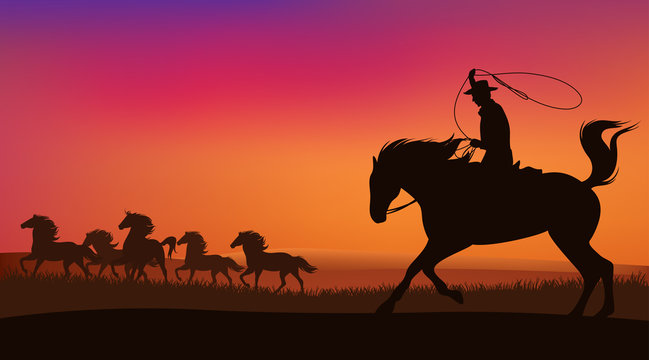 wild west sunset scene with horses and cowboy