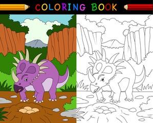 Cartoon styracosaurus coloring book