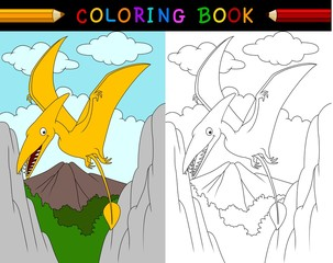 Cartoon pterosaurs coloring book