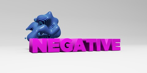NEGATIVE - 3D rendered colorful headline illustration.  Can be used for an online banner ad or a print postcard.