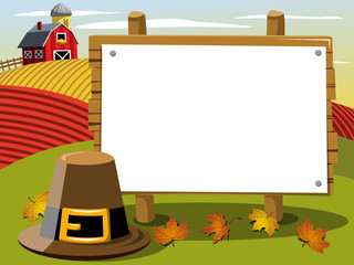 Thanksgiving day banner copyspace pilgrim hat in the countryside