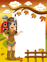Little Girl in Native American Indian Costume Presenting blank frame vertical countryside