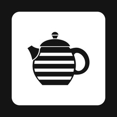 Black kettle with white stripes icon in simple style isolated on white background. Utensils symbol vector illustration