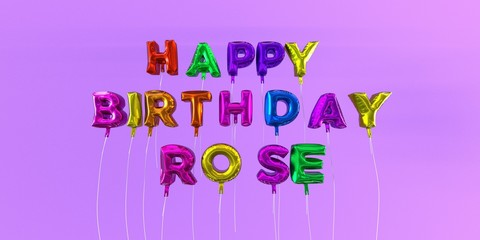 Happy Birthday Rose card with balloon text - 3D rendered stock image. This image can be used for a eCard or a print postcard.