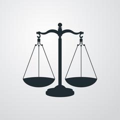Icono plano balanza en fondo degradado