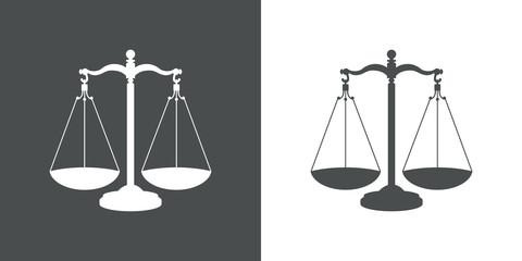 Icono plano balanza gris