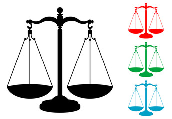 Icono plano balanza varios colores