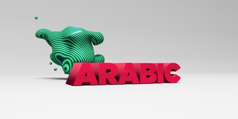 ARABIC - 3D rendered colorful headline illustration.  Can be used for an online banner ad or a print postcard.