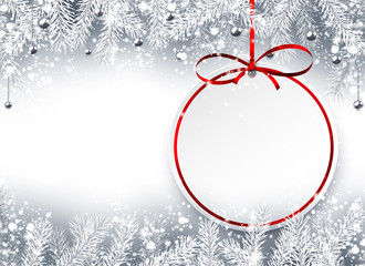 Christmas background with red ribbon.